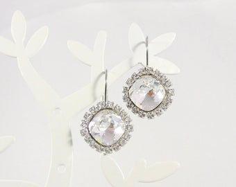 Crystal earrings, earrings Halo, statement earrings, crystal earrings, earrings, Bridal jewelry, bridesmaid earrings, gift