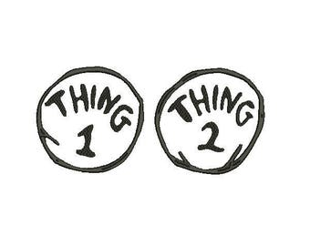Thing 1 & Thing 2 Applique Embroidery Design