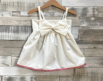 Baby Girls Cream Dress | Baby Dress with Bow | Cream and Pink Baby Dress | Button-down Dress