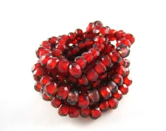 Mini Red Gold Lined Roller Czech Glass Beads Marsala Gold Czech Roller Beads Roller Gold Czech Beads 9x6mm (10pcs) 324V3