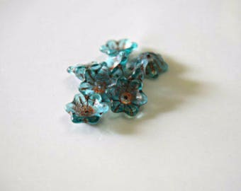Aqua Copper Wash Transparent Wide Bell Flower Czech Glass Beads Blue Czech Glass Beads Copper Flower Beads 12x11mm (6 pcs) 2V16