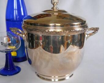 Silver Plated Ice Bucket, Pyrex Ice Bucket, Vintage Barware, Mid-century Ice Bucket