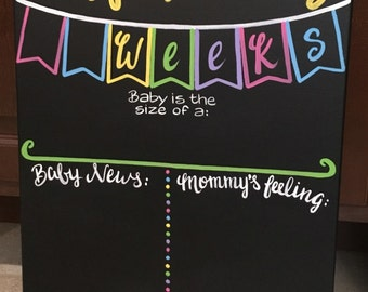 Weekly pregnancy chalkboard, Reusable Due date countdown, weekly pregnancy progress canvas chalkboard painting