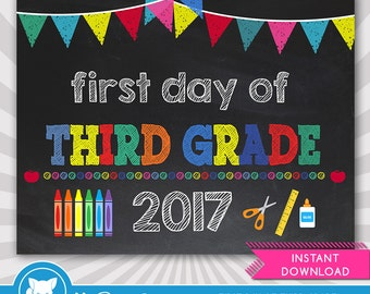 First Day of Third Grade Sign- 1st Day of School Printable - First Day of School Sign - Photo Props - Chalkboard Sign - Instant Download