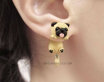 Cute Fat Pug Dog Clinging Earring, Two Part earring, Fake Gauge, Polymer Clay Earring