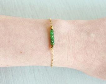 Tsavorite beaded bar bracelet - Genuine green garnet bead bracelet - Tsavorite garnet semi-precious bracelet - January birthstone bracelet