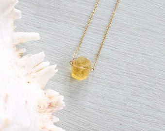Citrine Quartz Necklace - Small Citrine Nugget Necklace - Tiny Citrine Crystal Necklace - Citrine Necklace - November Birthstone Necklace