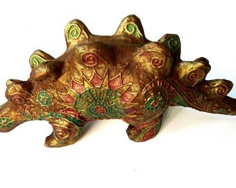 OOAK Golden Interior sculpture-Lizard-Brontosaurus-sculpture papier mache Dragon-interior toy Lacertian - art toy - animal sculpture