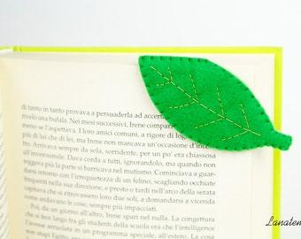 Leaf felt bookmark, green leaf corner bookmark, handmade, original birthday cool gift, botanic lover, friend present