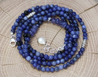 Ocean Blues Wrap Bracelet, sodalite, tanzanite bracelet, sodalite necklace