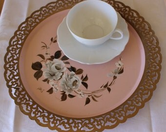 Tole Tray, Peach Pink Tole Floral Tray, Pink Floral Gold Bronze Filigree Edge Tole Tray, Floral Tray