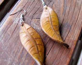 Carved Moulded Leather Autumn Leaf Earrings - sterling silver hook