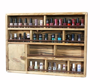 Nail Polishes & accessories Rack to hang | Rustic wood and iron pipes version | Very useful and handy! | 60 bottle model