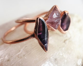 Alternative Engagement Ring // Amethyst and Copper Electroformed Rings /// Raw Stone Ring /// Inner Peace Stone Ring /// Boho Jewelry