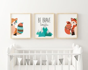 Woodland Nursery, Boy Nursery Print, Fox Woodland, Be Brave Little One, Mountains Nursery Decor, Hipster Tribal Woodland Animals (1341-3)