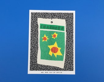 A risograph print of a colorful bag of cha cheer sunflower seeds