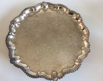 Vintage Silverplate Etched Chippendale Design Tri-footed Salver Tray by Continental Sheffied Silverplate Co., of Brooklyn, New York