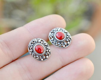 Sterling Silver and Coral Filigree Stud Earrings, Sterling Coral Earrings, Coral Jewelry, Coral Stud Earrings, Boho Sterling Jewelry