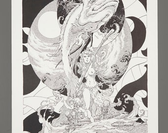 1978 Alex Nino The Dark Suns Of Gruaga Portfolio Plate #5 VOYAGE 11 x 16 Black & White Art 752/1000 Limited Edition