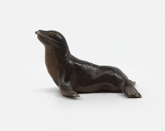 1940 Vintage Metal Seal Miniature Figurine Made In France