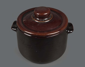 Vintage Cookie Jar Ceramic Container Medium Size Crock Dark Brown Color
