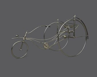 Vintage Oxweld No 7 Drawn Iron Bike Sculpture Silver Art Modern Decor Signed Metal Rods Wire Bike Welded