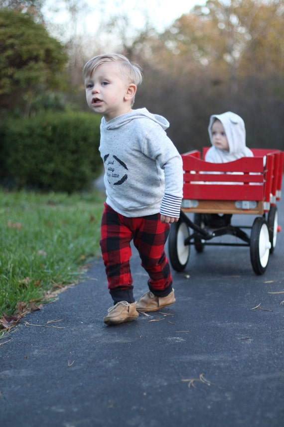 Red Buffalo Plaid Flannel Boy Pants Toddler Pants Fall Winter Boy Pants Red Baby Leggings Buffalo Check Red Buffalo Plaid Baby Leggings