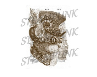 STEAMPUNK 1 cat - art print - painting - digital - digital - decor