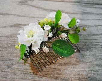 Apple Blossom Hair Comb - Greenery Comb - Bridal Flower Comb - White Flower Hair Comb - Wedding Headpiece - White Floral Comb