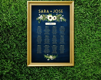 The ALYSSA . Seating Chart . White Anemone Magnolia Eucalyptus Garland Leaves Sage Emerald Green Gold & Navy . Large Printed Wedding Sign