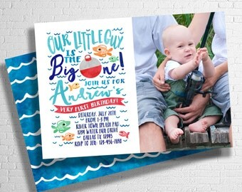 The Big One Fishing Invitatation | Fishing Birthday Invitation | It's O-Fish-al invite | First Birthday Invitation | DIGITAL FILE ONLY