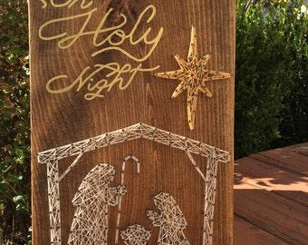 MADE TO ORDER Oh Holy Night Manger Scene String Art Sign