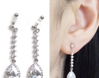 Bridal Clip Earrings, Cubic Zirconia Clip On Earrings, Wedding Clip Earrings, CZ Invisible Clip On Earrings, Dangle Teardrop Crystal Clip-on