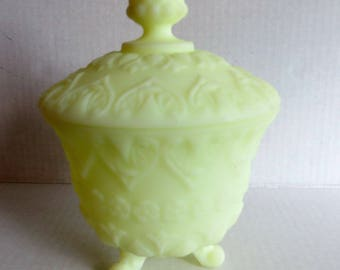 Vintage Footed Candy Dish, Mint Green