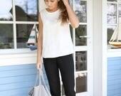 Classic minimal linen pants. Women's trousers. Black pants. Washed, soft linen pants with an elastic waist.