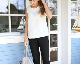 Classic minimal linen pants. Women's trousers. Black pants. Washed, soft linen pants with an elastic waist.