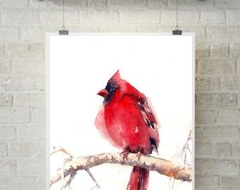 Cardinal Bird Print, Watercolor painting print, bird art print, red bird painting, watercolor wall art