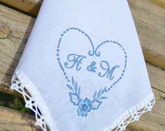 Personalized monogrammed hankerchief something blue handkerchief Bridesmaid gift monogram gift ideas lace handkerchief for wedding favors