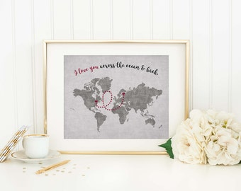 Personalized Long Distance World Map Custom Map Print Long Distance Gift Distance Relationship