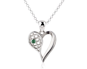 Sterling Silver Tennis Heart Necklace, Tennis Jewelry, Tennis Gift, Gem Stone, Personalized Gift, Silver chain options