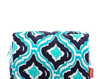 Monogrammed Cosmetic Case Make Up Case Toiletry Bag Blue Swirl Print