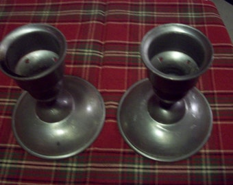 Vintage pair of Pewter Candle Holders from Hanle & Debler Distinctive American Pewter, Rustic Colonial Candlesticks, medieval table decor