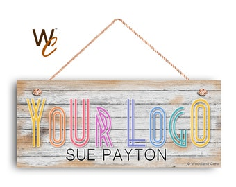 "Company Sign, Place Your Logo on Sign, Personalized 6""x14"" Sign, Promote Business or Boutique, Rustic Wood Style 2, Made To Order"