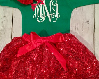 Baby Girl First Christmas Outfit, Girls Christmas Dress, Holiday Outfit, Christmas Set Green Monogram  Outfit Baby's 1st  Christmas