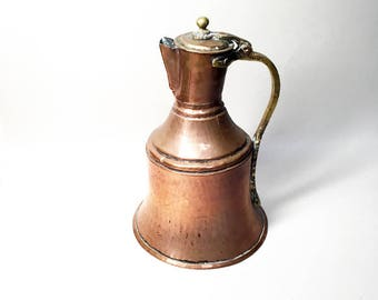 Large French Vintage Hammered Copper Pitcher - Copper Jug
