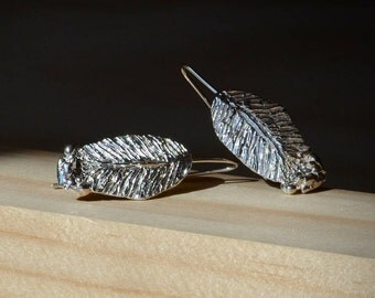Silver Earrings Leaf. Silver Earrings Drop. Silver Earrings Dangle. Everyday Earrings. Silver Jewelry.  Delicate earrings. Gift for her.