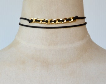 Black Suede 2 Layer Choker with Gold Chain Insertion