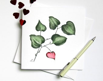 Limited edition 'Love Grows' hand made pencil & watercolour botanical drawing painting greeting plant with heart leaf sasparilla smilax