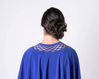 Blue Women Capelet, Blue Shawl, Royal Blue Women Bolero, Blue Evening Shawl, Loose Shrug, Blue Women's Shrugs, Blue Dress cover, Women Shrug