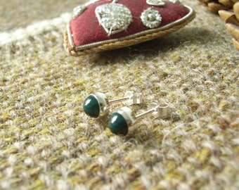 Bloodstone & Sterling Silver - Stud Earrings. 5mm Round Cabochons - Notched Posts with Butterfly Backs.